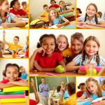 Collage of smart schoolchildren at school